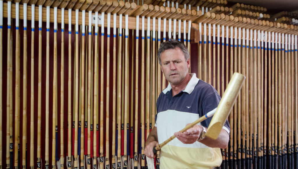 George Wood Inspecting a Polo Mallet