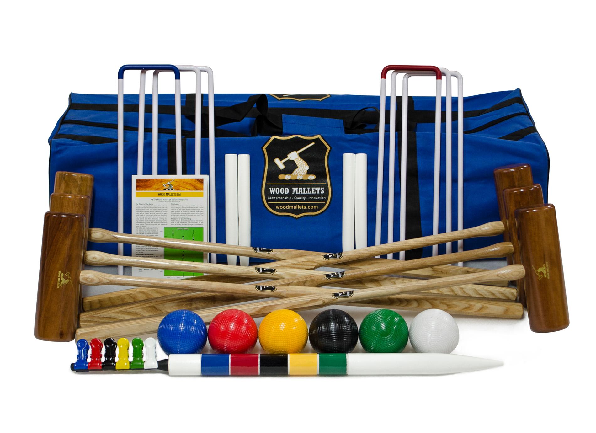 Cottage Set 6 Player Garden Croquet Set In A Bag with Hardwood Mallets